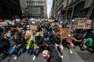 "NEW YORK, NEW YORK/USA – June 2, 2020: Peaceful protesters march at ""A Vigil & March for Black Lives"" which started at Foley Square and progressed throughout lower Manhattan."