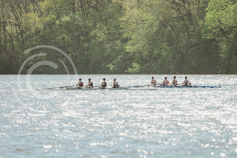 The 2v4 boat rows during the Sunflower Showdown against Kansas on May 1, 2021 at Wyandotte County Lake. (Sophie Osborn | Collegian Media Group)