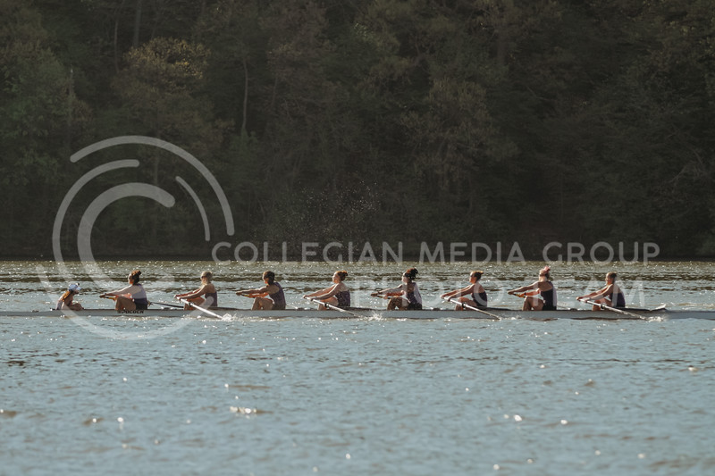 The 1v8 boat rows during the Sunflower Showdown against Kansas on May 1, 2021 at Wyandotte County Lake. (Sophie Osborn | Collegian Media Group)