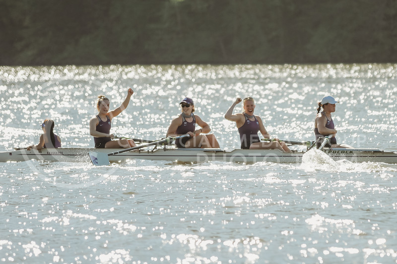 The 1v4 boat celebrates a win during the Sunflower Showdown against Kansas on May 1, 2021 at Wyandotte County Lake. (Sophie Osborn | Collegian Media Group)