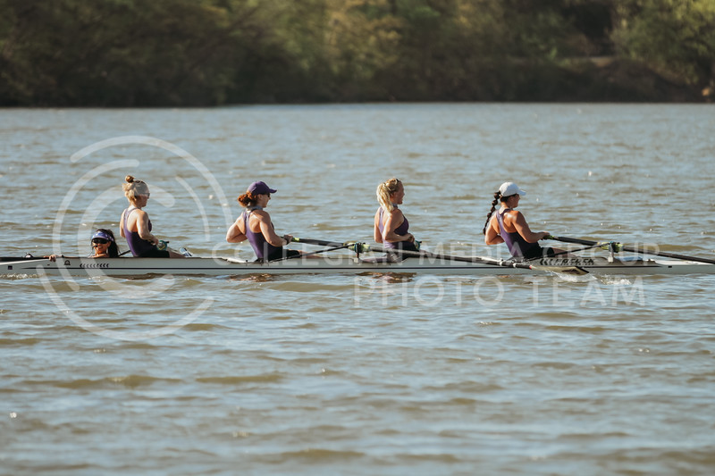 The 1v4 boat rows during the Sunflower Showdown against Kansas on May 1, 2021 at Wyandotte County Lake. (Sophie Osborn | Collegian Media Group)
