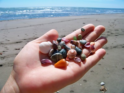The surf on the rocky shore polished up an amazing variety of jewel-toned rocks, glass, and shells. Pacific coast, Panama.