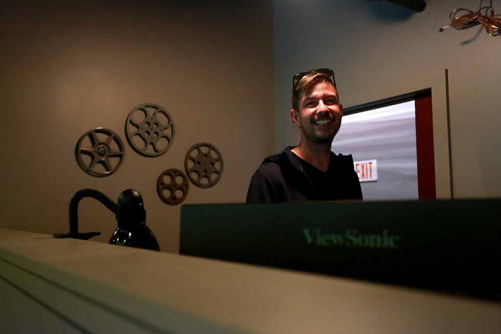 . Theater manager Chris Kouns does a test run for their Friday night film at Sunrise Cinema on Oct. 12, 2018 in Berthoud.Photo by Taelyn Livingston/ Loveland Reporter-Herald