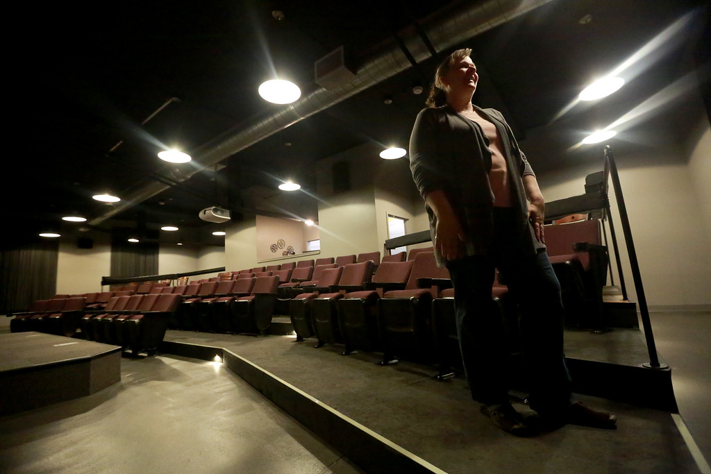 . Theater manager Cheryl Kouns stands in the newly opened Sunrise Cinema in downtown Berthoud on Oct. 12, 2018.Photo by Taelyn Livingston/ Loveland Reporter-Herald