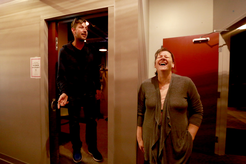 . Theater managers Chris and Cheryl Kouns are all smiles in the hallway of Sunrise Cinema as they prepare for Friday night�s film on Oct. 12, 2018 in Berthoud.Photo by Taelyn Livingston/ Loveland Reporter-Herald.