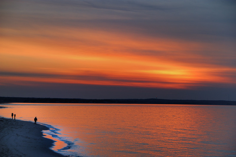 Chapin Beach at the close of the day.<br /> It doesn't really matter what the weather is like or the time of year Cape Codders will walk the beach. From late Fall until Spring you can bring your dog on the beach and many do.