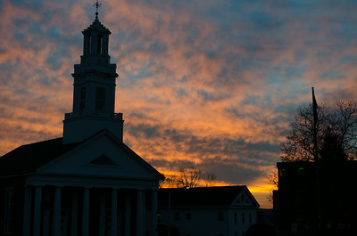 Andover Baptist Church at sunset, single image