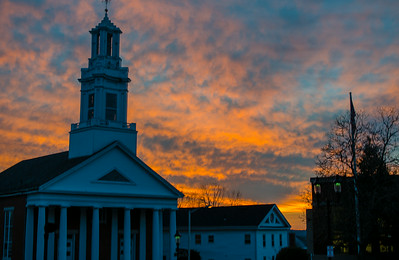 Andover Baptist Church at sunset, HDR