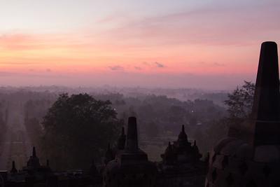 Break of dawn at Borobudur
