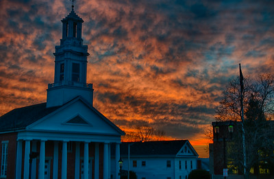 Andover Baptist Church at sunset, HDR III
