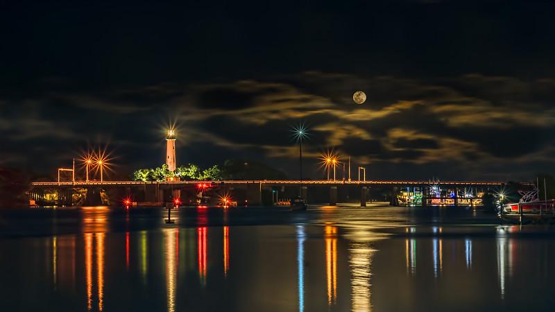 Full Moonrise - Lighthouse