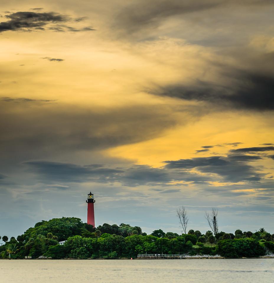 Jupiter Lighthouse.  Sun is beginning to set.