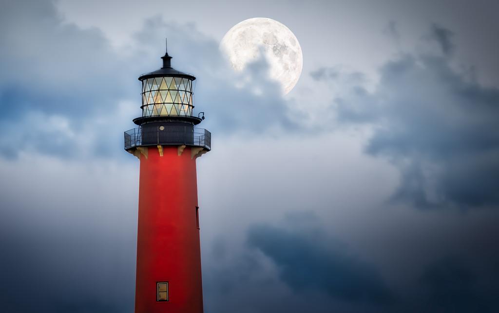 Jupiter Lighthouse Fantasy Full Moon - Digital Art