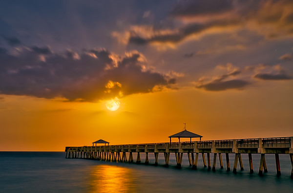 Juno Beach Pier Moonrise