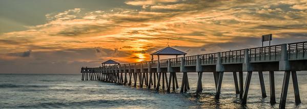 Sunrise Juno Beach Pier - Panoramic