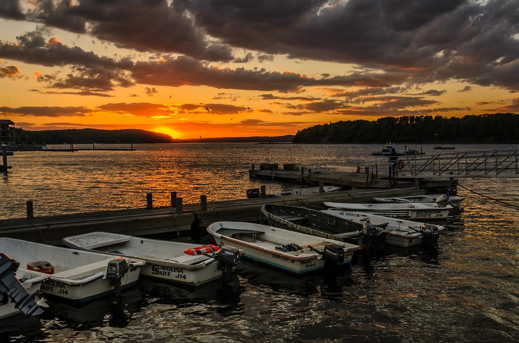 Bar Harbor Sunset - Lobstermen Skiffs