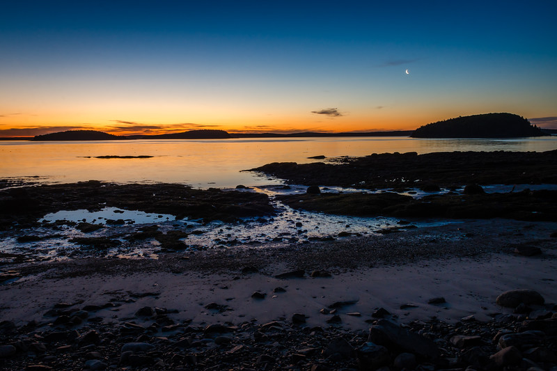 Bar Harbor Sunrise - Waxing Cresent Moon