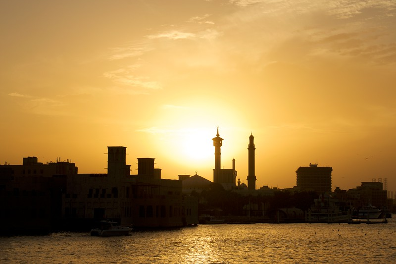 Sunset on Dubai Creek, U.A.E.