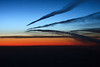 3 Aircraft each with contrails on the same route | One has just climbed