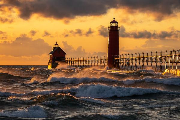 Lake Michigan Pounds Grand Haven Pier at Sunset