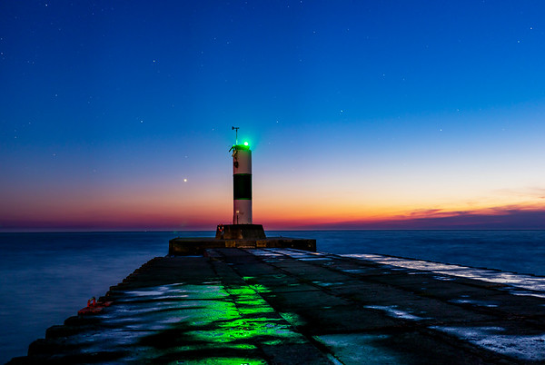 Grand Haven North Pier After Sunset