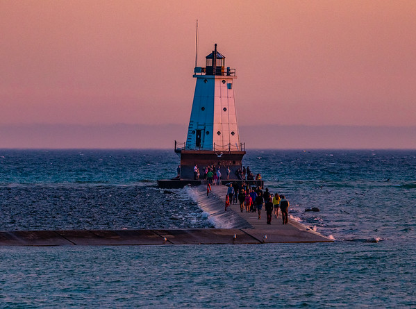Ludington Pier in the Light of the Setting Sun