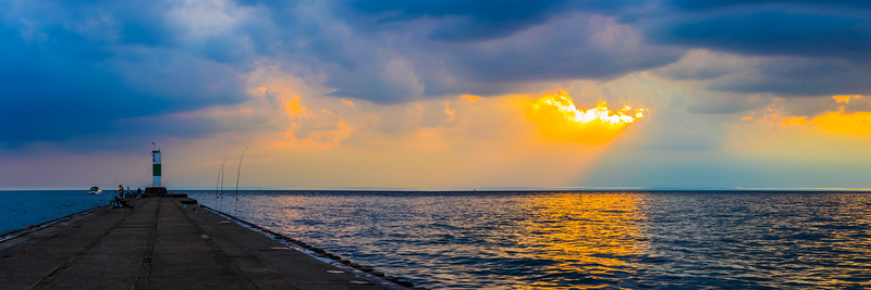 Sunset Over the Grand Haven North Pier Panorama