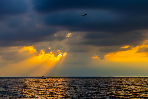 Sun Rays Over Lake Michigan