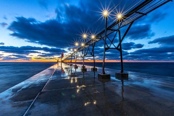 The Pier Lights Up at Sunset