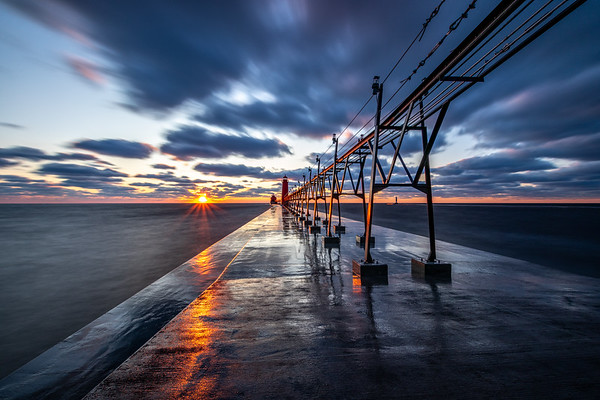 The Sun Sets on the Grand Haven Pier