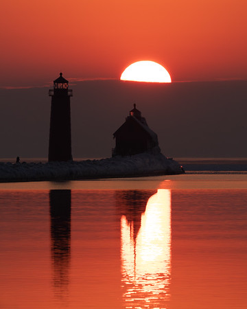 Warm Reflections at Sunset in Grand Haven