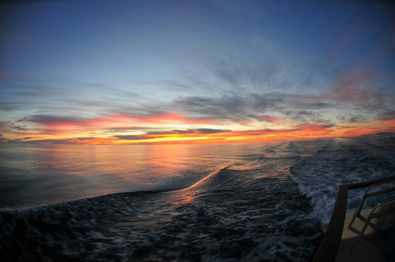 Sunrise near Isla San Jose off the Stern of Searcher