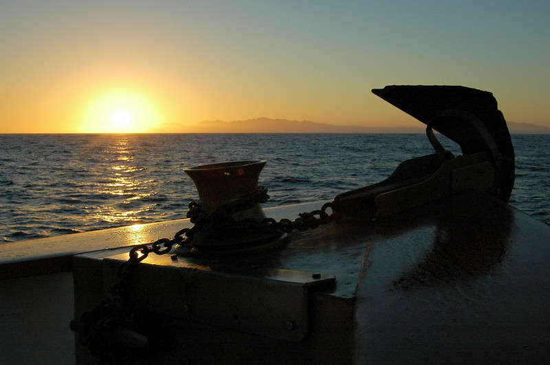 Sunrise off the bow
