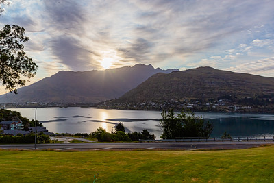 Sunrise over the Southern Alps, Kā Tiritiri o te Moana, and Frankton Arm, Queenstown New Zealand.