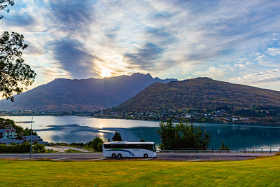 Sunrise over the Southern Alps  Kā Tiritiri o te Moana on Frankton arm, Queenstown, New Zealand.