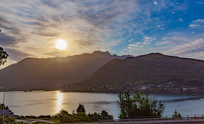 Sunrise over the Southern Alps  Kā Tiritiri o te Moana on Frankton arm, Queenstown New Zealand.
