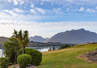The rugged range Southern Alps, Kā Tiritiri o te Moana, and Frankton Arm, Queenstown New Zealand.
