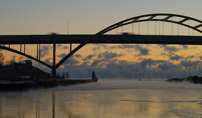 Cold morning in Milwaukee. Air temp 0. Water temp 40 something. Hoan Bridge. Lake Michigan.