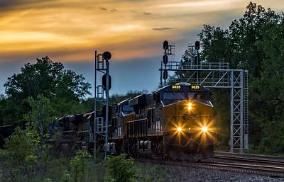 freight train at sunset near Fairport NY