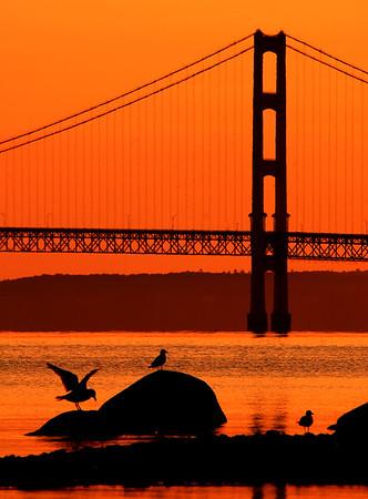Morning light at Mackinac Bridge