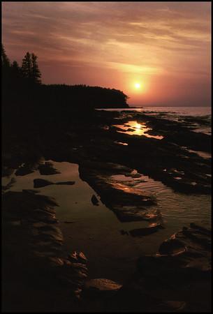 Lake Superior Shoreline at Sunset - Porcupine Mountains, Michigan