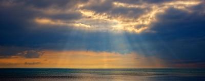 Sunrays over Lake Michigan, Carnegie Woods.  Naubinway, MI