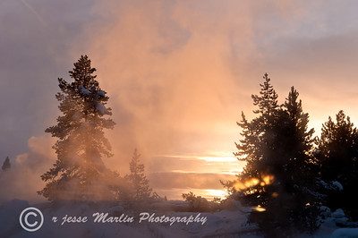 Fountain Geyser at sunset, Yellowstone WY