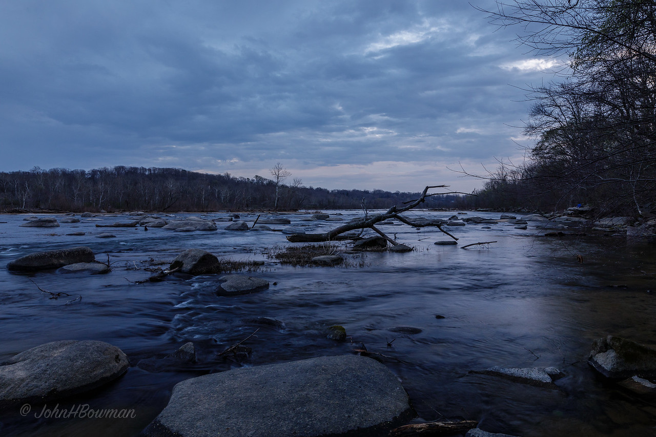 James River Pony Pasture Rapids, about 1 minute after sunset