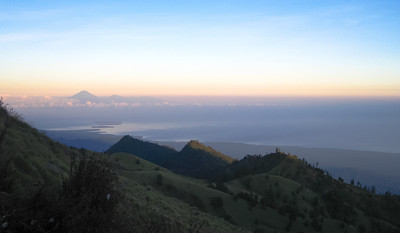The Gili Islands in the foreground & Bali in the distance. Mt. Rinjani, Lombok, Indonesia