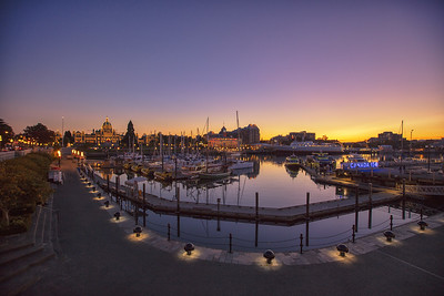 Sunset Victoria BC Inner Harbor Parliament Building Background