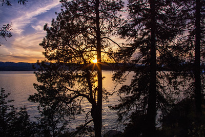 Sunset Along Lake Coeur d'Alene Idaho Shoreline