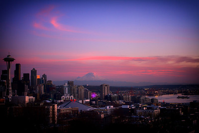 Seattle Skyline Sunset Wide Angle