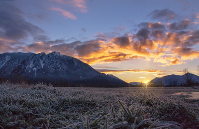 Frosty Grass Sunrise Mt Si Winter