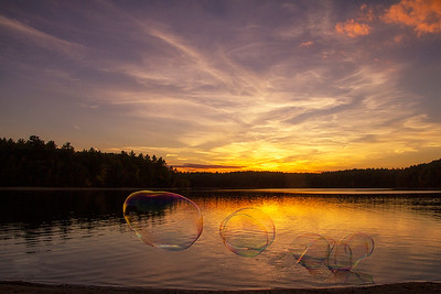 Sunset Bubbles at Walden Pond